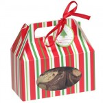 Red and Green Striped Cookie Boxes with Handle