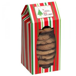 Red and Green Striped Cookie Box with Window