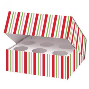Candy Cane stripe cupcake box